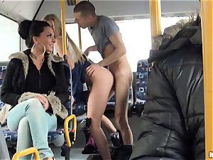 Lindsey Olsen drills her boy on a public bus