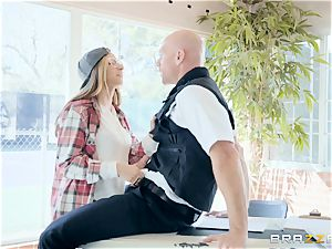 naughty little Nina North deep-throating off the security guard