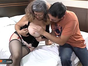 AgedLovE Latina lush grandmother humping youngster