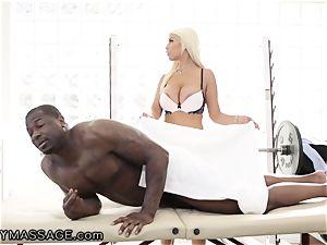 sensuous Bridgette treats raging big black cock pipe for Job!
