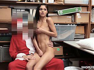 Katya Rodriguez rides on security santas man-meat