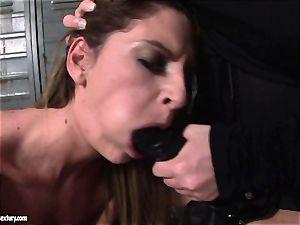 Kathia Nobili lets a warm dame deepthroat her string on