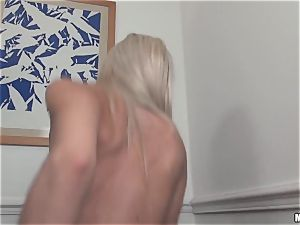phat titted french towheaded babe Chloe Lacourt rides giant pillar trouser snake