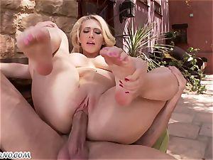 obscene chesty blonde Kagney Linn Karter gets drilled outdoor