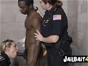 Pimp is held still while cougar cop gargles and takes his big dark-hued spunk-pump