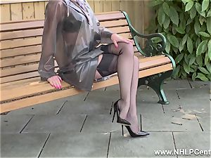 naughty mummy milks in public in nylons garters stilettos