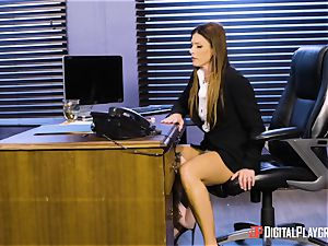 India Summers and Sunny Lane vagina tribbing act in the office