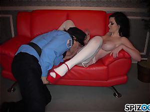 naughty dark-haired Kendall Karson pounded by policeman in the stripclub