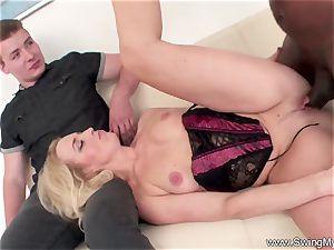 blond German Swinger wifey pokes big black cock