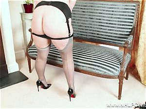 bootylicious blondie milks in grey nylons and high high-heeled shoes
