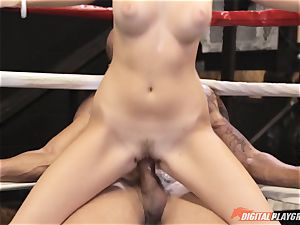 Alexis Adams puss wrinkled in the boxing ring by huge fuck-stick