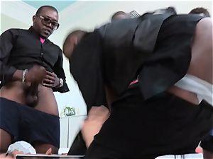 Asa Akira gangbanged by a gang of phat ebony stiffys