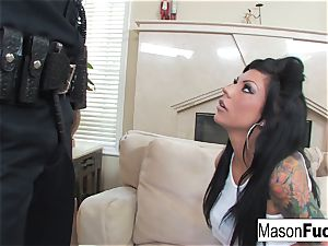 Mason Moore gets romped by a cop