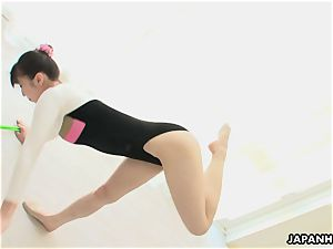 chinese gymnast playthings her gash and dances while undressing