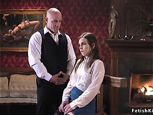 student housekeeper deep mouth poked