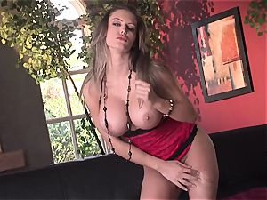 Jenna Presley takes it off slowly to demonstrate off her huge mammories and smoking assets